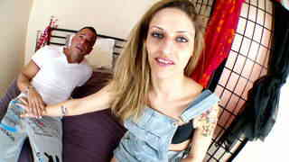 Blue eyes and tattooed petite gets shagged